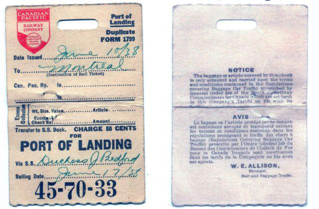 Front and Back of Ticket 1938